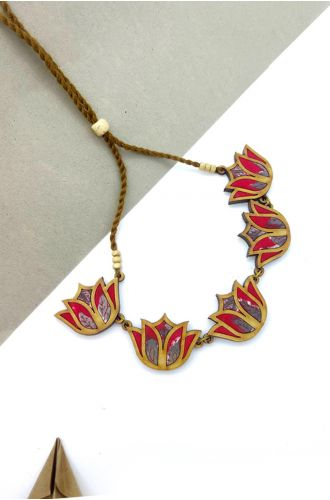 Lotus Repurposed Fabric And Wood Red Necklace