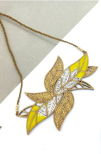 Leaf Motif Repurposed Fabric And Wood Yellow Necklace