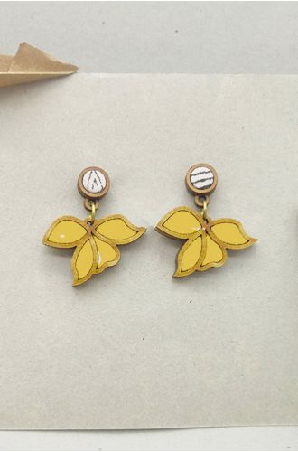 Leaf Motif Repurposed Fabric And Wood Yellow Earring