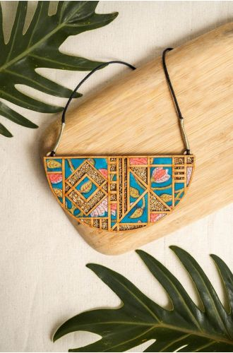 Handblock Printed Fabric And Repurposed Wood Frame Maze Necklace