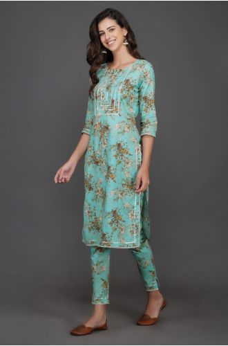 Straight Kurta And Pant Set With Silver Gota And Lace Inserts