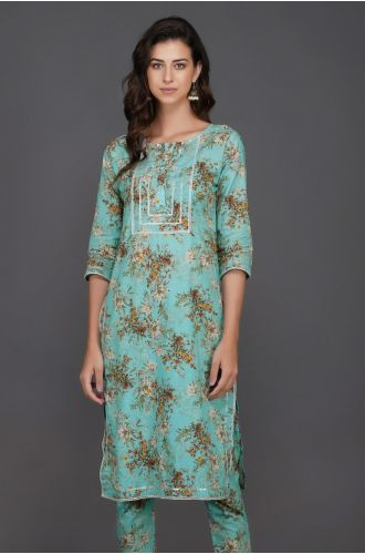 Straight Kurta With Silver Gota And Lace Inserts