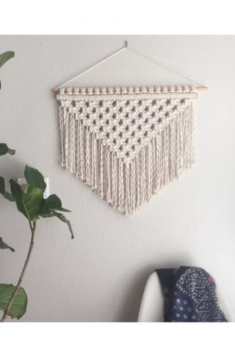 Macrame Triangle Off White Wall Hanging