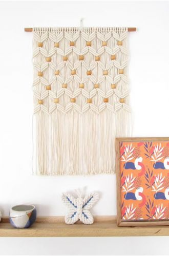 Marame Wooden Beaded Wall Hanging