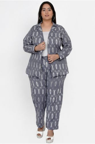 Fabnest curve Womens Cotton Grey Ikkat Jacket With Straight Relaxed Pants