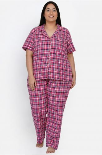 Fabnest curve Womens Handloom cotton pink multi check night lounge set with matching hairband