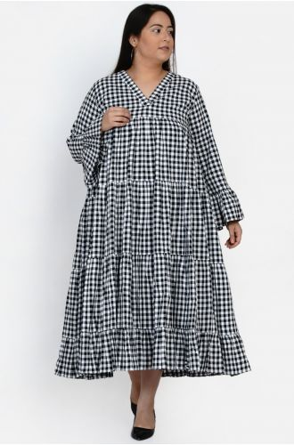 Fabnest curve women handloom cotton tiered black and white gingham check dress