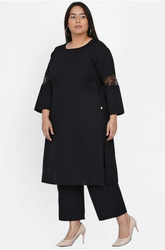 Fabnest curve womens black cotton flex set of straight kurta with lace insert at sleeve and straight pants
