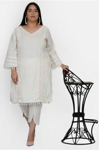 Fabnest curve women set of off white cotton flex kurta with lace work on princess seam, tiered sleeves with co-ordinated petal pants
