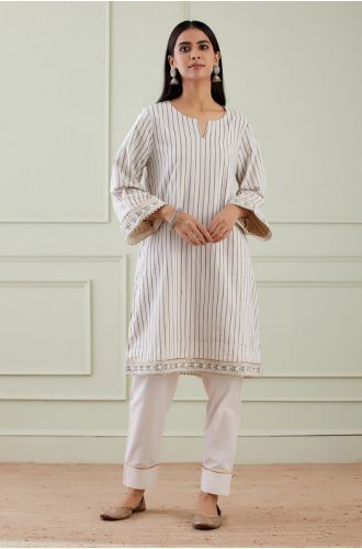 Striped Wide Arm Kurta With Pant (Set Of 2)