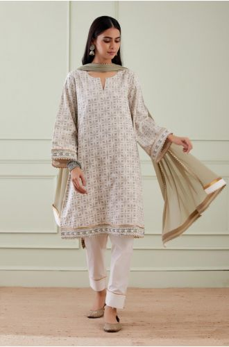 Printed Wide Arm Kurta With Pant And Dupatta(Set Of 3)