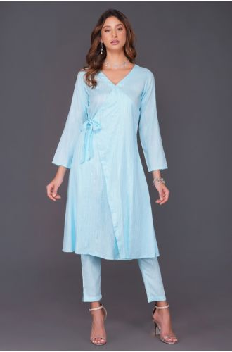 Fabnest womens sky blue cotton linen lurex angrakha and coordinated straight pants with pockets