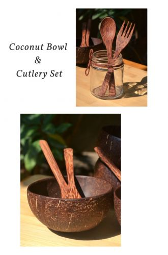 Coconut Bowl And Cutlery Set Combo