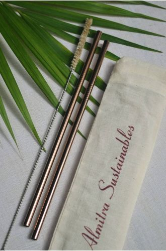 Reusable Copper Straw Straight Pack Of 2 With Cleaner