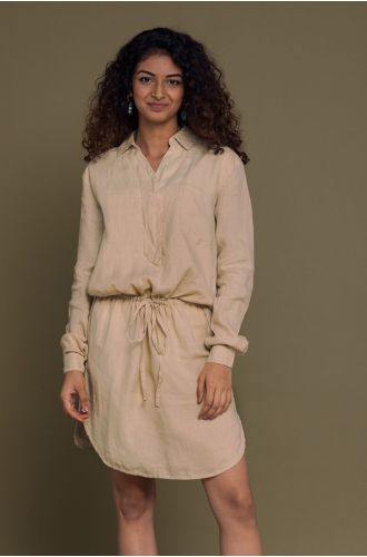 Meet Me By The Cliff Dress In Sand Beige