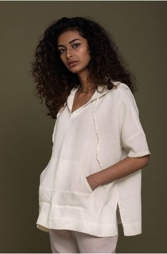 The Hemp Hoodie In Shell Off-White