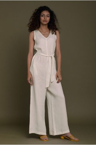 Breakfast In Bed Jumpsuit In Shell Off-White