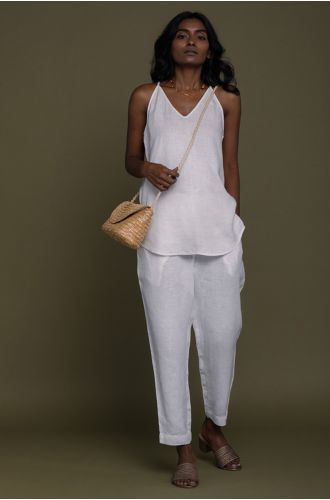 Blankets On The Beach Pants In Coconut White