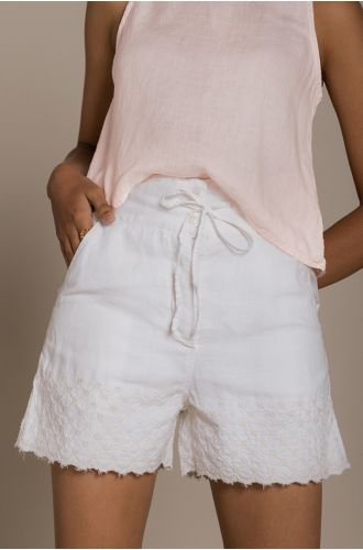 Raindrops On Flip Flops Shorts In Cocunut White