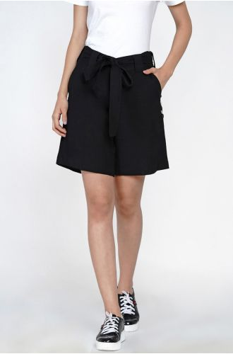 Black Shorts With Side Fold Tabs