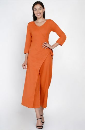 Rust Orange Jumpsuit With An Overlap Panel And Tie Up