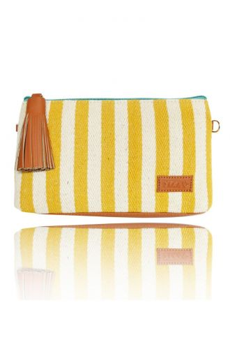 Fizza Yellow Striped Sunglass Pouch or Sling