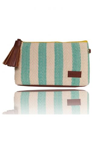 Fizza Blue Stripped Canvas Sunglass Pouch or Sling
