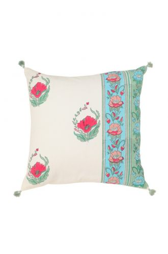 White Base And Red Flowers Cushion Cover