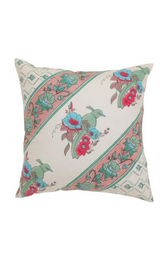 White Base and Peacock Design Cushion Cover