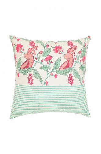 White and Green Base Goat Design Cushion Cover