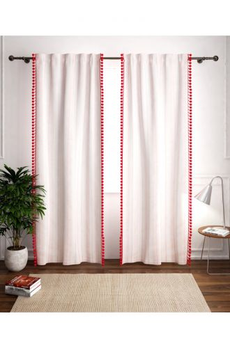 White With Red Poplins Curtain