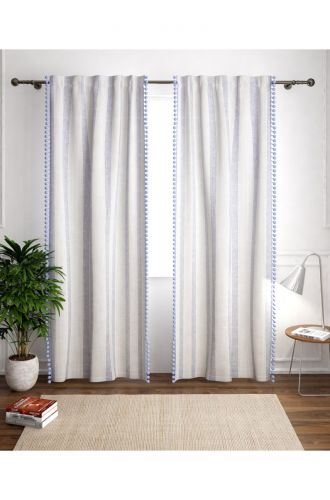 White With Blue Stripes Curtain