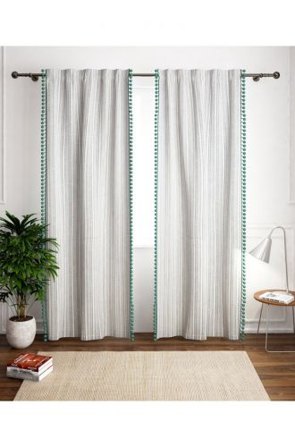 White With Green Poplins Curtain