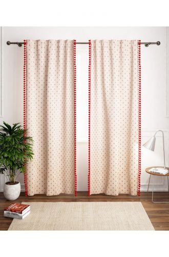 Red Dotted With Red Poplins Curtain Set Of 1