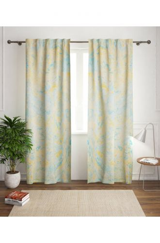 White With Blue Marbelling Curtain
