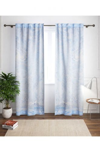 Blue Curtain Marbelling
