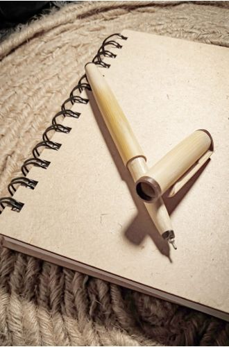 Notebook With Bamboo Pen