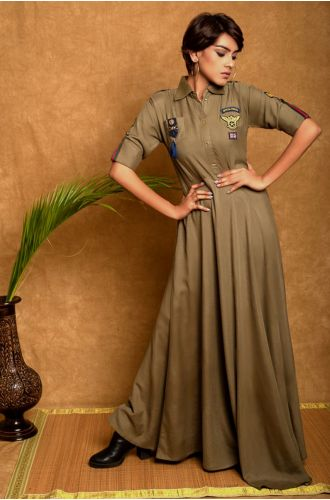 Military Green Dress With Waist Band