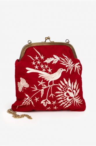 Womens Red Floral Essence Party Clutch