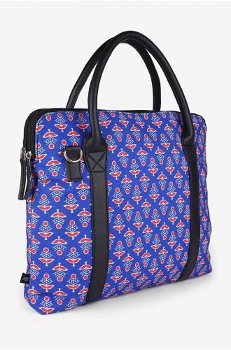 Womens Indie Blue With Quilting Ethnic Print Laptop Bag