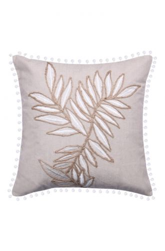 Grey Embroidered Cushion Cover