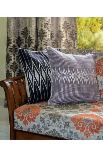Handwoven Andean Grey and White Tribal Cushion Cover