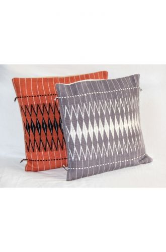 Handwoven Dzukou Grey and White Cotton Cushion Cover