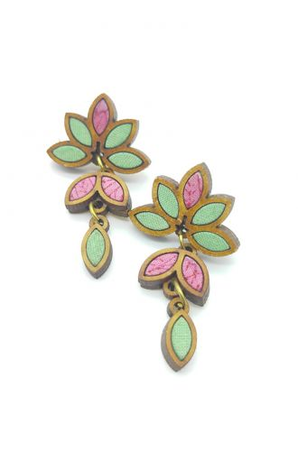Leaf Motif Repurposed Fabric And Wood Mint Pink Earring