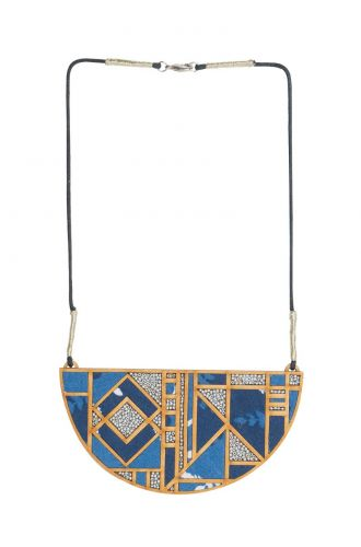 Printed Fabric And Repurposed Wood Frame Maze Necklace