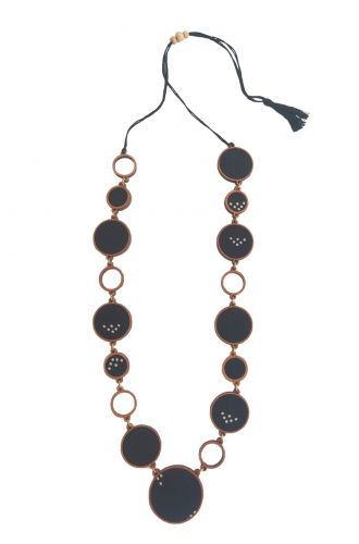 Black And Brown Unity Repurposed Fabric And Wood Necklace