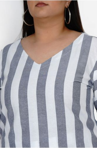 Fabnest Curve Womens Handloom cotton white and blue stripe set of v neck bell sleeve kurta with loose fit pant plus size