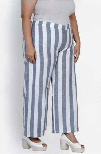 Fabnest curve Womens Handloom cotton white and blue stripe loose fit pant
