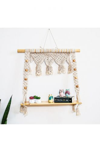 Macrame Wall Hanging with Large Plant or Storage Shelf