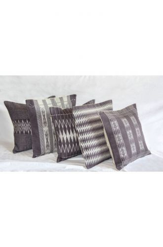 Handwoven Japfu Grey and White Tribal Cushion Cover